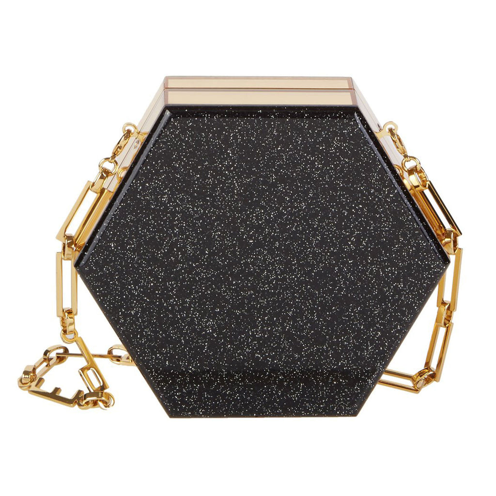 Edie Parker Mini Macy Ribbon Clutch Crossbody in Starlight Black with Gold Mirror sides and removable gold chain Angled view