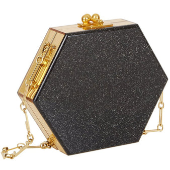 Edie Parker Macy Clutch Crossbody in Starlight black with gold mirror sides with gold clasp and removable gold chain