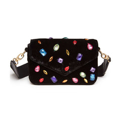 Edie Parker Melissa Embellished Jeweled Black Crushed Velvet Crossbody Thick Strap Handbag Clutch Front View