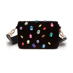 Edie Parker Melissa Embellished Jeweled Black Crushed Velvet Crossbody Thick Strap Handbag Clutch Back View
