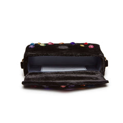 Edie Parker Melissa Embellished Jeweled Black Crushed Velvet Crossbody Thick Strap Handbag Clutch Open View