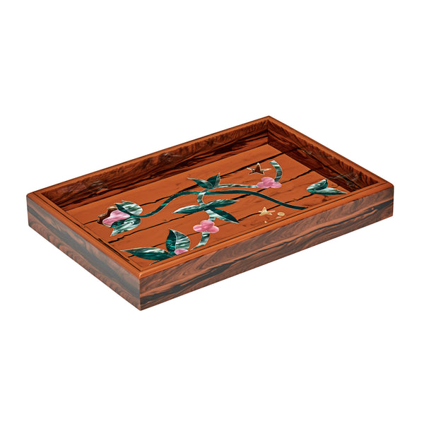 Small Tray Currant and Stars in Wood color with multi colored inlays.