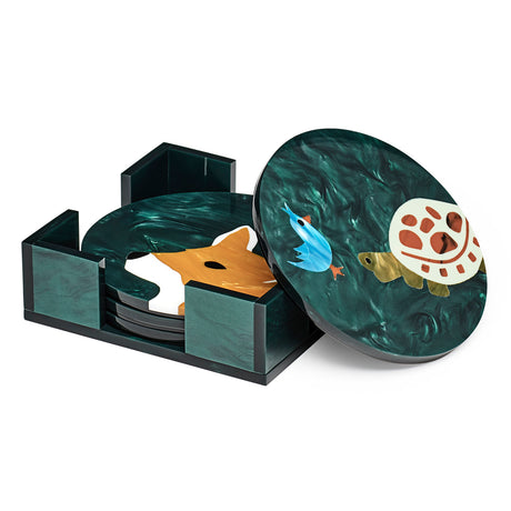 Edie Parker designer home Round Coasters Forest Critters in emerald with multi colored inlays and holder. Set of 4.