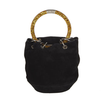 Edie Parker Black Suede Olivia Acrylic Silver Gold Handle Crossbody Handbag feature Front View