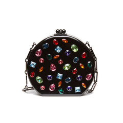 Edie Parker Oscar Jewelie Crystal Embellished Black Multi Color Stones Crossbody Chain Handbag Front View