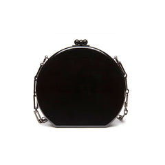 Edie Parker Oscar Jewelie Crystal Embellished Black Multi Color Stones Crossbody Chain Handbag Back View