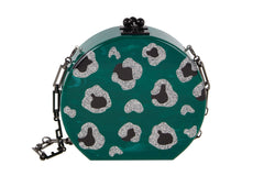 Edie Parker Oscar Leopard Green Malachite Crossbody Handbag Silver Glitter Animal Spots Black Hardware Front View