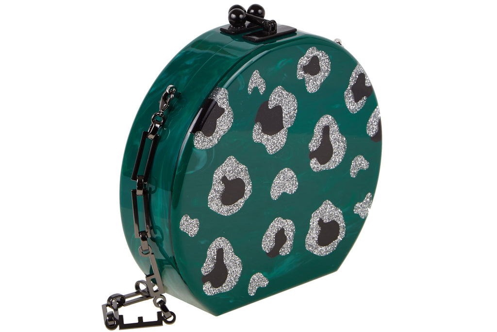 Edie Parker Oscar Leopard Green Malachite Crossbody Handbag Silver Glitter Animal Spots Black Hardware