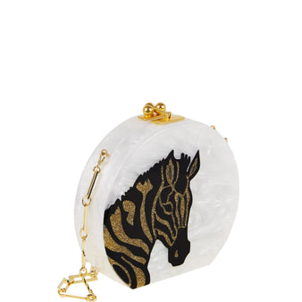 Edie Parker Oscar White Pearlescent Zebra Head Crossbody Handbag Black and Gold Glitter Animal Profile Gold Hardware