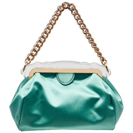 Aliza Satin in Mint with magnetic tab closure and top handle chain. Fully lined with one interior open pocket.