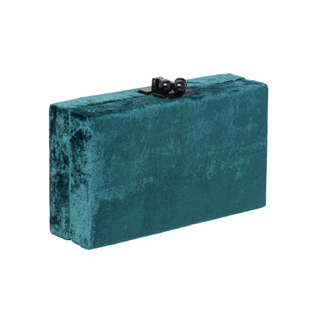 Edie Parker Jean Velvet designer clutch handbag in Dark Green with gold hardware.