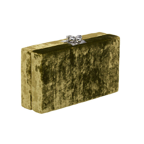 Edie Parker Jean Velvet designer clutch handbag in Military Green with gold hardware.