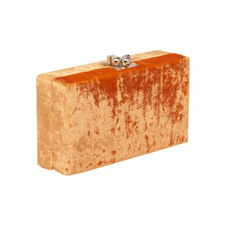 Edie Parker Jean Velvet designer clutch handbag in Orange with gold hardware.