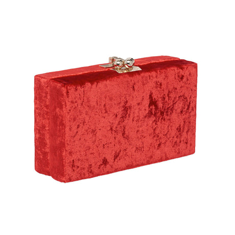 Edie Parker Jean Velvet designer clutch handbag in Red with gold hardware.