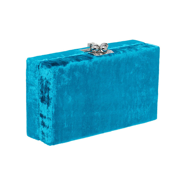 Edie Parker Jean Velvet designer clutch handbag in Turquoise with gold hardware.