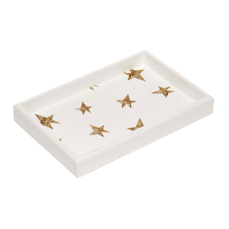 Edie Parker designer home Vanity Tray Stars in white pearlescent featuring gold star inlays.