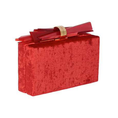 Edie Parker Wolf Velvet designer clutch handbag in red velvet with shard lock detail with signature cotton lining.