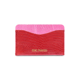 Card Case Lizard in Red and Pink.