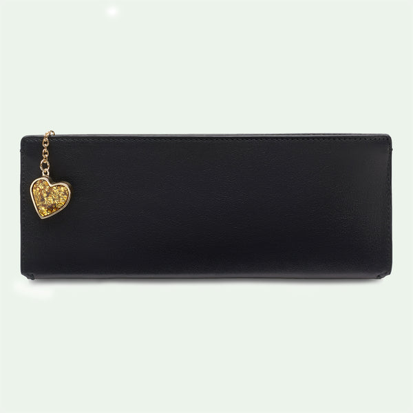 Demi Pouch in black with orange, blue or gold confetti heart.