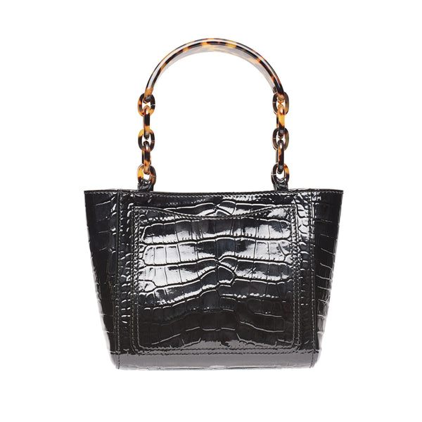 Micro Tote Embossed Croc in Black
