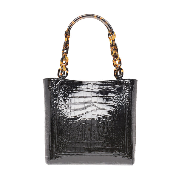 Mini Tote Embossed Croc in Black