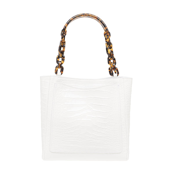 Embossed Croc Mini Tote in White