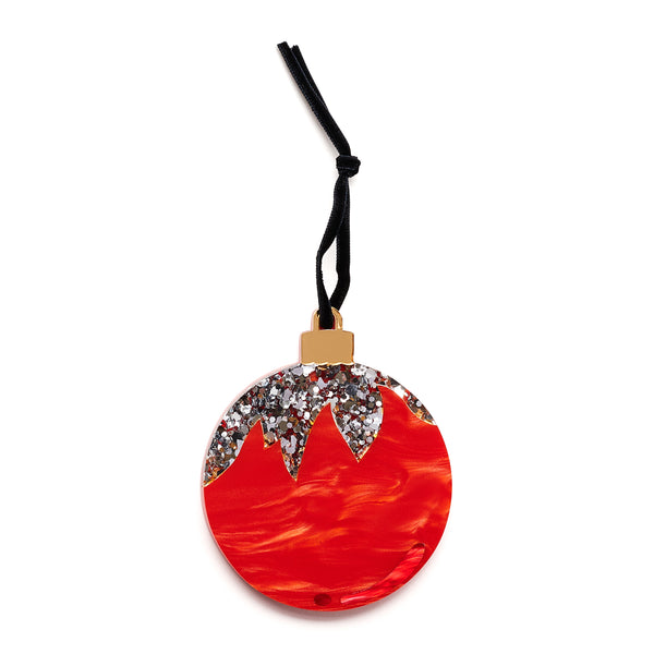 Holiday Ornament in red with silver confetti.