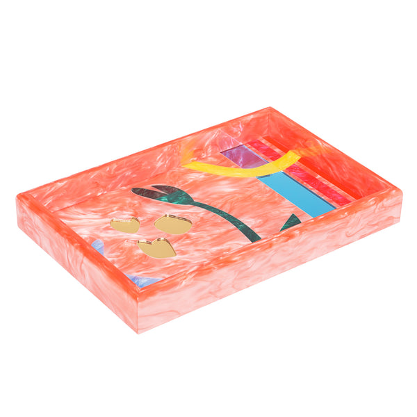 Vanity Tray Floral Abstract in Guava Multi