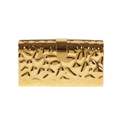Edie Parker Gold Giraffe Rebekah Metal Printed Handbag Clutch Crossbody Detachable Strap Inner Mirror