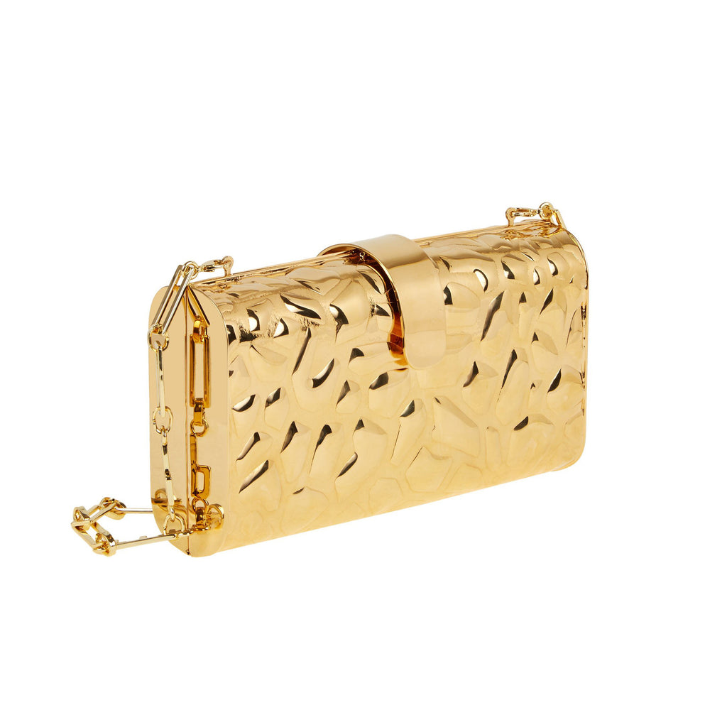 Edie Parker Gold Giraffe Rebekah Metal Printed Handbag Clutch Crossbody Detachable Strap