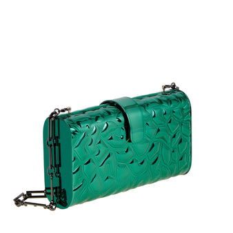 Edie Parker Green Metal Giraffe Printed Handbag Clutch Steel Chain