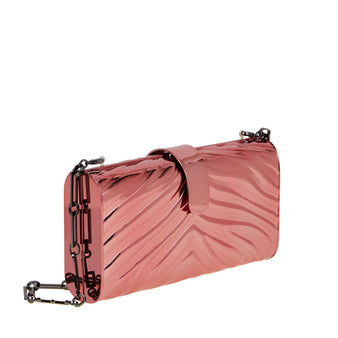 Edie Parker Pink Zebra Printed Metal Rebekah Handbag Detachable Steel Chain Clutch