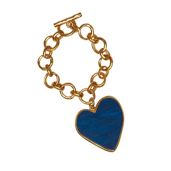 Heart Charm Bracelet with fawn acrylic heart set in authentic 14K gold plated sterling silver.