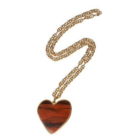 Large Heart Necklace with fawn acrylic heart.
