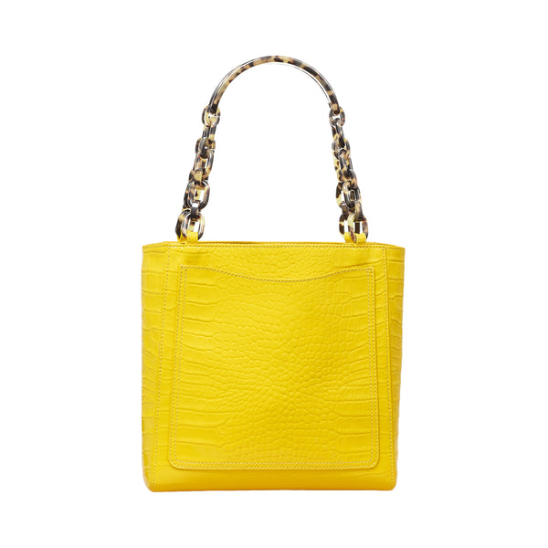 Mini Tote in Embossed Patent Croc in Mimosa