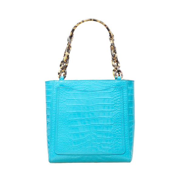 Mini Tote in Embossed Patent Croc in Pool