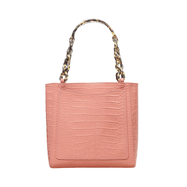 Mini Tote in Embossed Patent Croc in Rose