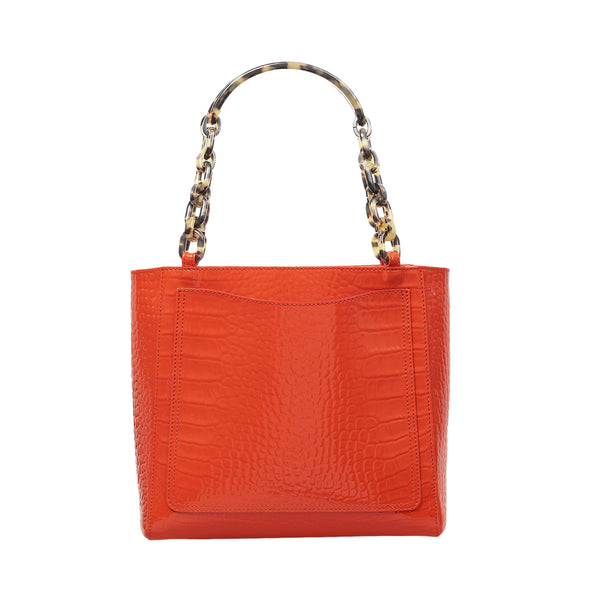 Mini Tote in Embossed Patent Croc in Tangerine