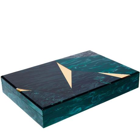 Edie Parker Home Rectangle Shatter Box in Green Malachite, Gold Mirror, Emerald, Geometric shapes, removable lid