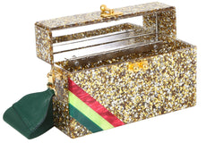 Edie Parker Small Trunk Diagonal Corner Stripes Gold and Silver Confetti Red Green Stripe Gold Clasp Open View