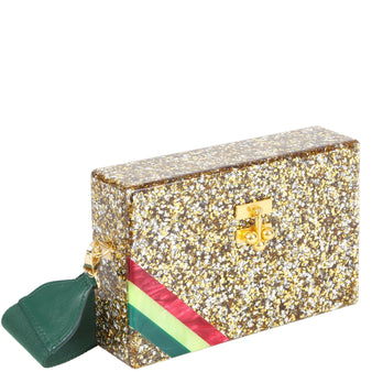 Edie Parker Small Trunk Diagonal Corner Stripes Gold and Silver Confetti Red Green Stripe Gold Clasp
