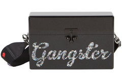 Edie Parker Black Gangster Trunk Crossbody Handbag Script Text Jewel Embellished Thick Strap Front View
