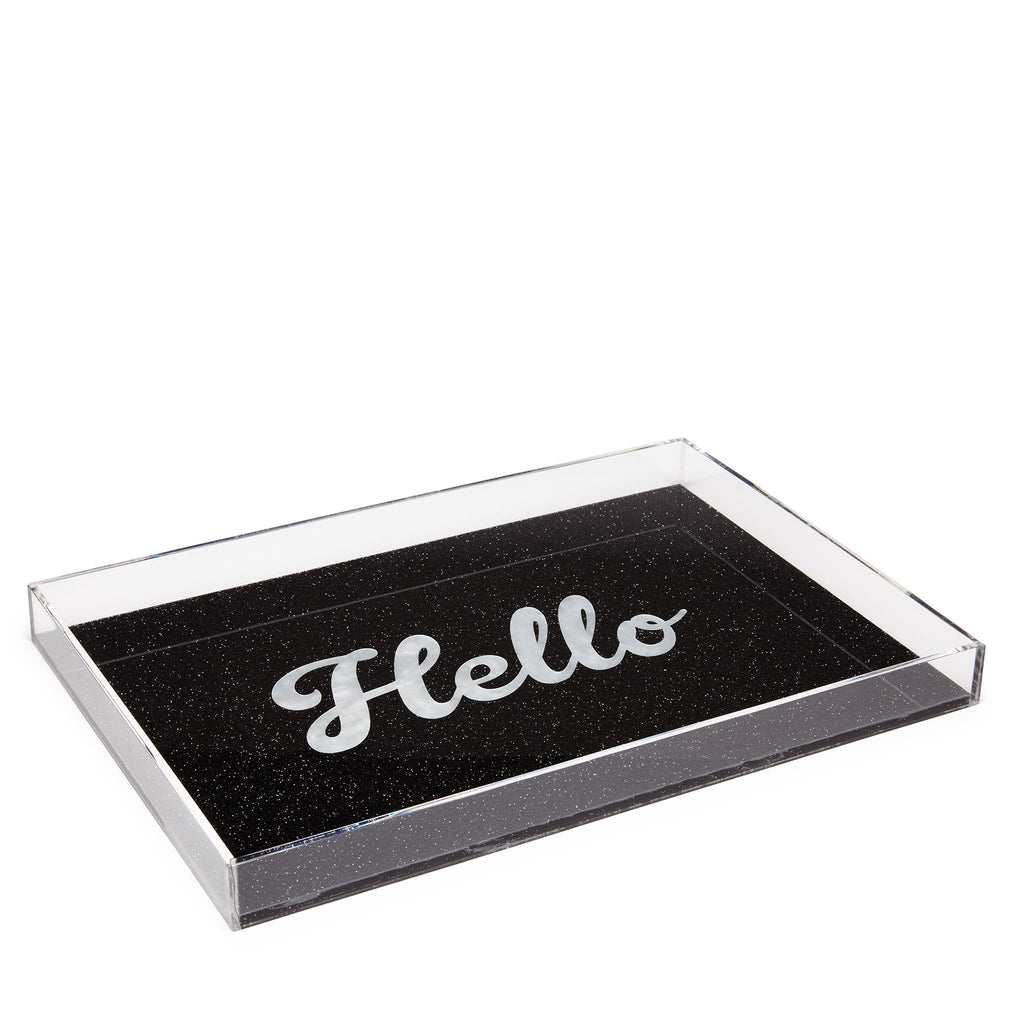 Edie Parker Acrylic Hello Tray Starlight Black Cursive White Text Feature