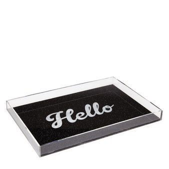 Edie Parker Acrylic Hello Tray Starlight Black Cursive White Text