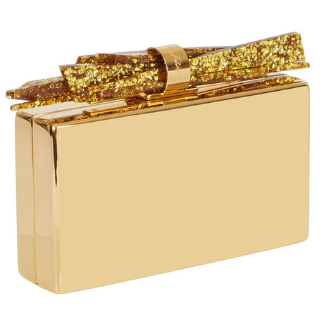 gold, Edie Parker Wolf Clutch Handbag in Gold Metal with Gold confetti shard lock detail