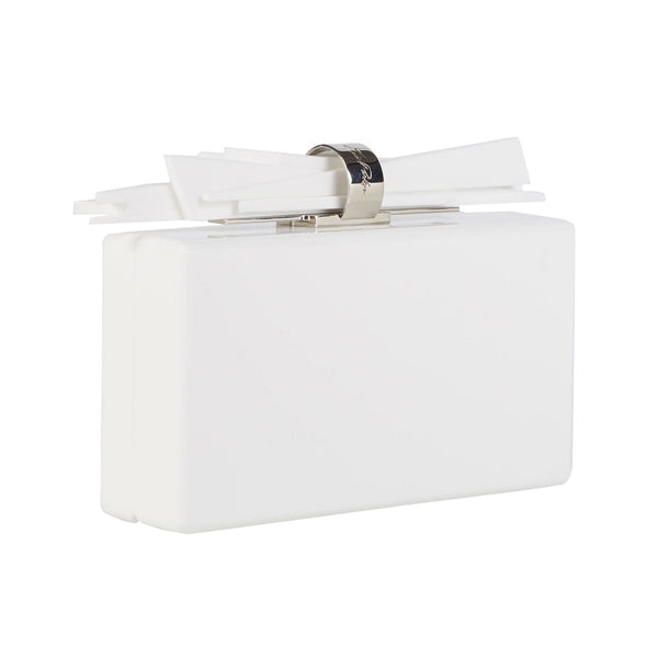 white-flat, Wolf Acrylic clutch handbag in white flat with white flat shard lock detail