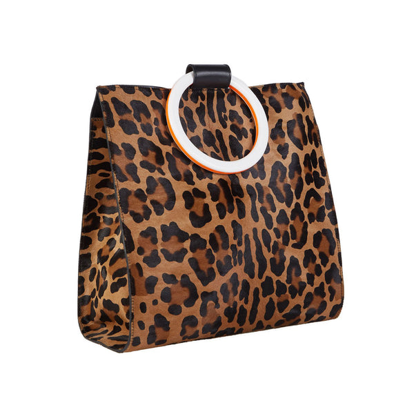 Aces Haircalf in printed haircalf with flat white and orange marble acrylic top handle and detachable leather crossbody strap.