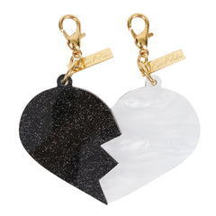 Edie Parker White Pearlescent Black Starlight Best Friends Broken Heart Charm Set Back View
