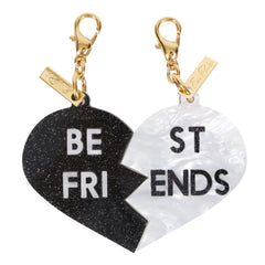 Edie Parker White Pearlescent Black Starlight Best Friends Broken Heart Charm Set Front View