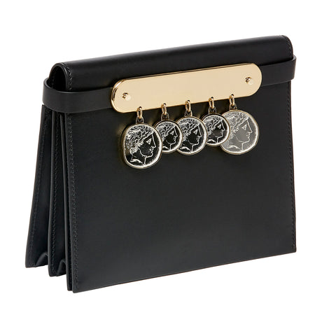 black, Candy Leather with Coins featuring acrylic panel with etched hanging acrylic inlayed zamak coins with roman motif, and removable leather shoulder strap as well as removable leather crossbody strap.